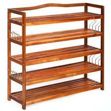 5-Tier Wood Shoe Rack Free Standing Large Shoe Storage Organizer Heavy-duty