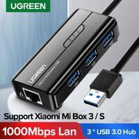 UGREEN USB Gigabit LAN Ethernet Adapter 10/100/1000Mbps with 3 Ports USB 3.0 Hub