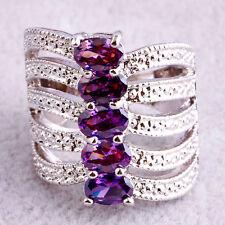 Fashion Women 5 Amethyst Gemstone Silver Ring Oval Cut Wedding Jewelry Size 6-9