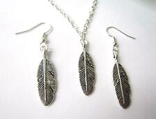 Vintage Silver Plated Feather Earrings & Necklace Set New in Gift Bag Boho