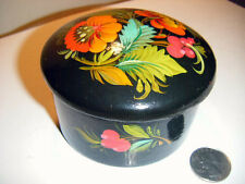 trinket box round black laquer handpainted toleware box numbered on base Beauty!