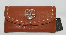 Cognac Brown GUESS Garland Checkbook Wallet Purse Clutch NWT - New Trifold