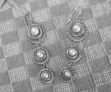 NEW DAVID YURMAN STERLING TRIPLE DROP CABLE EARRINGS WITH PEARLS (retail $825)