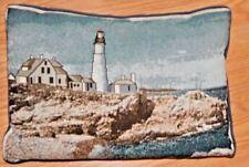 Vintage Accent Toss Pillow Nautical Portland Head Lighthouse Coastal Beach House