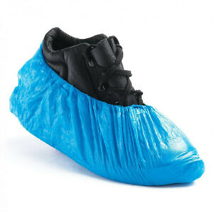 100 Disposable Shoe Cover, Blue Anti Slip Plastic Cleaning Overshoes Boot Safety