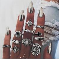 10Pcs/Set Women Lady Boho Vintage Silver/Gold Punk Knuckle Finger Midi Rings Hot