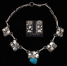 Navajo Handmade by Alex Sanchez Sterling with Turquoise Necklace and Earrings