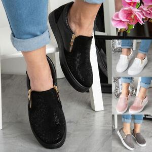 Flat Trainers Shoes Bling Zip Gym Sneakers Pumps Slip On Ladies Womens Size