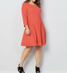 NEW Avenue Orange Chevron Stretch Heavy Swing Skater Dress Sizes 14-28 $60