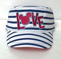 women MICKEY MOUSE LOVE CADET HAT white&navy striped pink RHINESTONE disney park