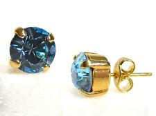 SoHo® Ohrstecker Ohrringe geschliffene Kristalle crystal gold aquamarine türkis
