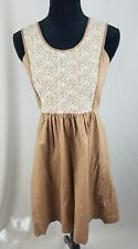 LiL Anthropologie women 4 brown cream floral lace embroidered sleeveless dress