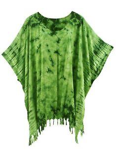 BeautyBatik Green Womens BOHO HIPPIE Batik Tie Dye Plus Size Tunic Blouse Kaftan