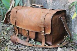 "20""LARGE VINTAGE GENUINE LEATHER HOLDALL TRAVEL WEEKEND CABIN SPORTS DUFFEL BAG"