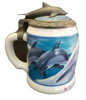 Anheuser Busch Sea World Beer Stein Mug Pewter Lid Dolphins Extinction Forever