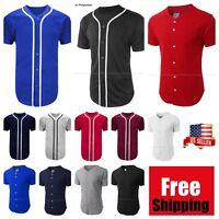 Mens Baseball Jersey Team Uniform Sports Raglan Fashion Tee Casual Plain T-Shirt