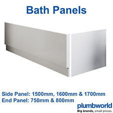 Modern High Gloss White Acrylic Bath Panel Bathroom Front Side End Many Sizes