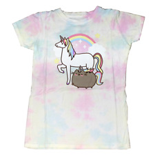 Women Junior's Tie Dye Pusheen Unicorn Cat Eating T-Shirt Tee Kawaii Rainbow Pri