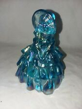 Vintage Wheatonware Carnival Glass Doll Blue Girl Bonnet and Purse Art Glass 60s