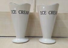 Pair of Ceramic Ice Cream Cone Cups White