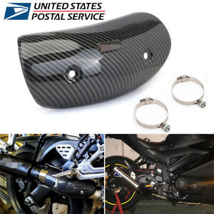 Carbon Fiber Look Motorcycle Exhaust Protector Heat Hot Shield Cover