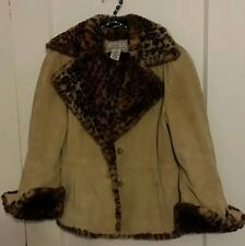 Passports Coat GENUINE LEATHER SUEDE leapard Sherpa lined Women's  M Medium
