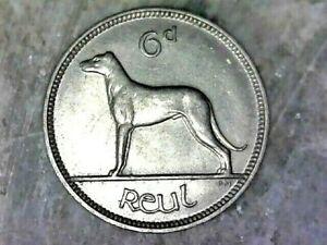 1928 IRELAND 6d REUL- NICKEL COMPOSITION COIN  KM# 5