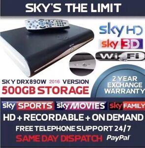 SKY PLUS + HD BOX WIFI 500GB SKY AMSTRAD DRX890W BUILT IN WiFi, Remote And Lead