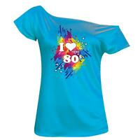 Ladies I Love The 80s T-Shirt Fancy Party Top Shirt Disco Club Festival Top