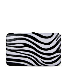 BLACK TRIM ZEBRA LOOK FLAT THICK WALLET COUNTRY WESTERN BLING FASHION BIFOLD