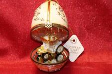 KOMOZJA CINDERELLA COACH CARRIAGE HINGED GLASS EGG ORNAMENT-BEIGE/GOLD-POLAND