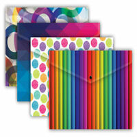Pack of 5 A4 Fashion Assorted Document Wallets Plastic Folders Stud Holder