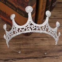 European Royal Crystal Headband Tiara Wedding Silver Rhinestone Bridal Big Crown