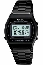 Casio Retro Illuminator Digital Black Stainless Steel 50M B640WB-1AEF Watch New