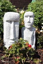 Steinfigur Osterinsel Gesichter Set Gartenfigur frostfest wetterfest Moai Deko