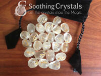 Clear Quartz Runes Set for healing with stylish pouch crystal rune set