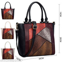 Womens Ladies Faux Leather Mock Snake Patchwork Large Shoulder Handbag Bag
