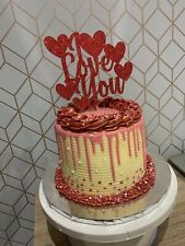 Custom Cake Topper I Love You Hearts Red Glitter Any Colour Free UK P&P