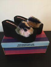 New Rocket Dog Boom Trench Blush Multi Fur Platform Sandal Sliders Size 3