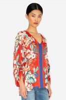 NWT $215 Johnny Was Red Tropical Floral EVY Top 100% Silk Blouse