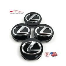 "Black Chrome Lexus Center Caps 62mm Hub Caps 2.5"" All 2006-2019 Lexus Models"