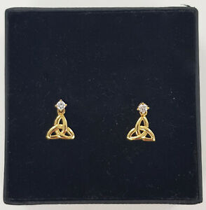 14ct Yellow Gold Solvar Celtic Trinity Knot Cubic Zirconia Stud Earrings