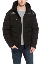 Moose Knuckles Gunton Black Slim Fit Leather Trim Puffer Jacket Size S Men