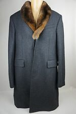 Burberry London Rabbit Fur Collar Grey Coat Size 50 EU / 40 US $2500