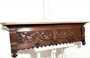 Griffin angel wood carving wall hook rack Antique french architectural salvage