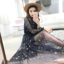 Women Embroidery Lace Sheer Dress Mesh Star Puff Sleeve Vintage Lolita Fairy New