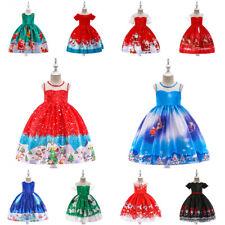 New Silk Santa Claus Christmas Princess Girls Dress Xmas Party Kids Clothes