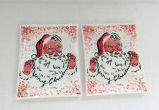 vintage 1950s Merry Christmas Santa two matching  glass pin tray Houze art glass