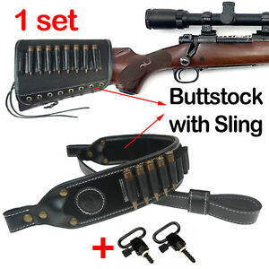 1 Sets Black Gun Buttstock 30-06 308 .45-70 Cartridge Holder and Rifle Sling USA