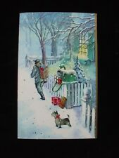 Vintage Christmas Greeting Card Mailman Delivers Gifts in Snow Terrier Dog House